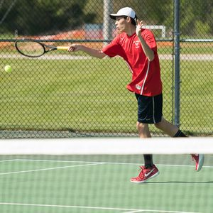 Peter Mao shows his touch with a forehand winner